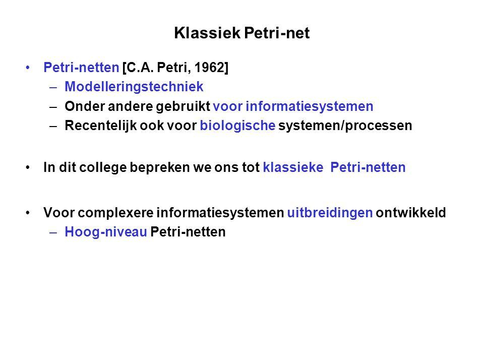 Klassiek Petri-net Petri-netten [C.A. Petri, 1962]